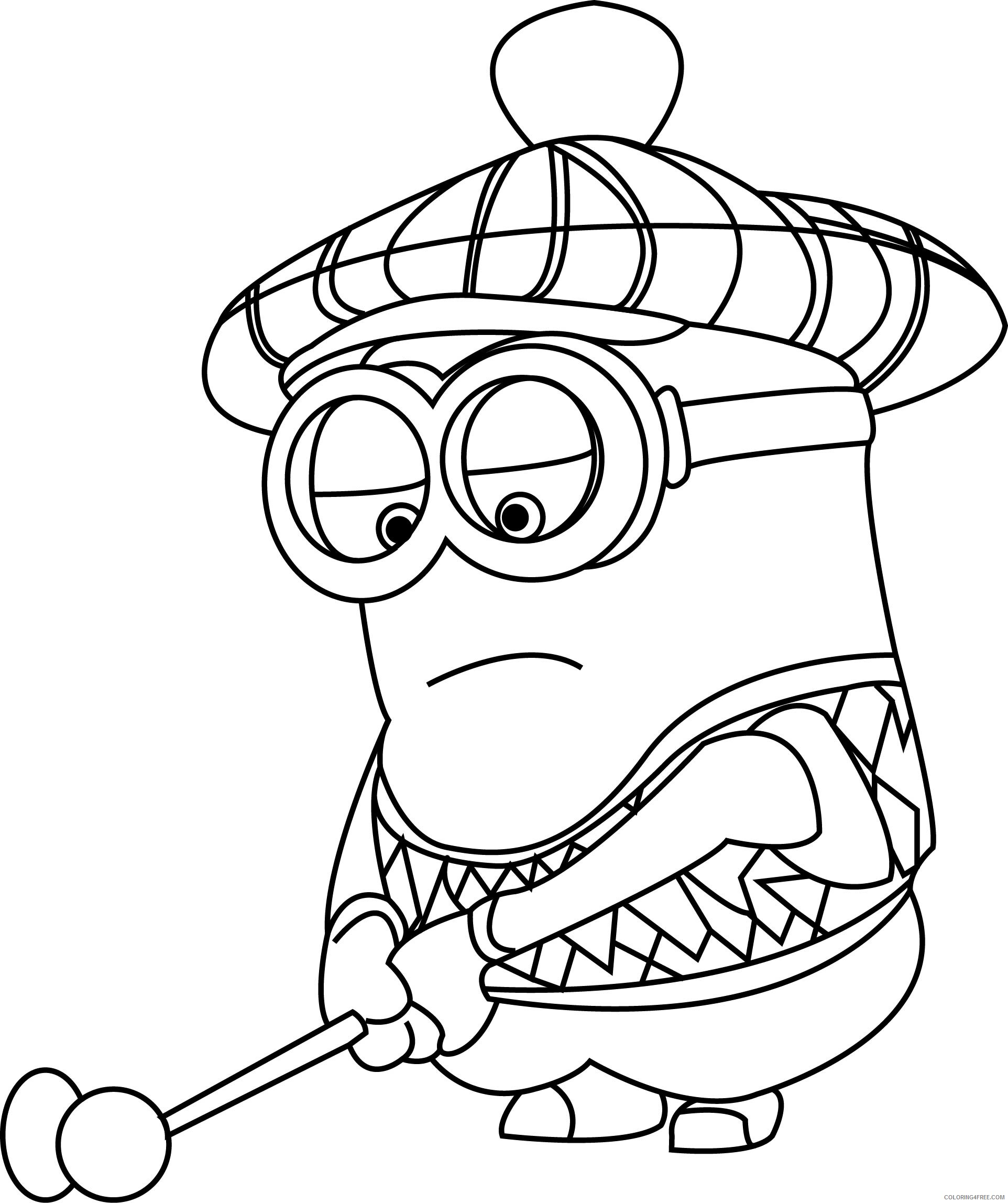 Minions Coloring Pages TV Film minion kevin playing golf a18 ...