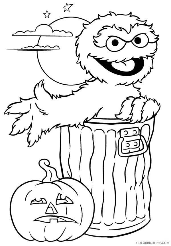 Sesame Street Coloring Pages TV Film Oscar and Pumpkin Jack O Lantern 2020 07450 Coloring4free