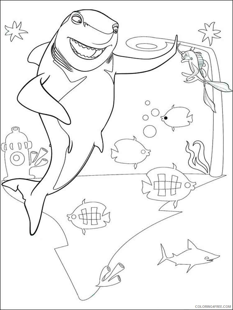 Shark Tale Coloring Pages TV Film shark tale 10 Printable 2020 07454 Coloring4free