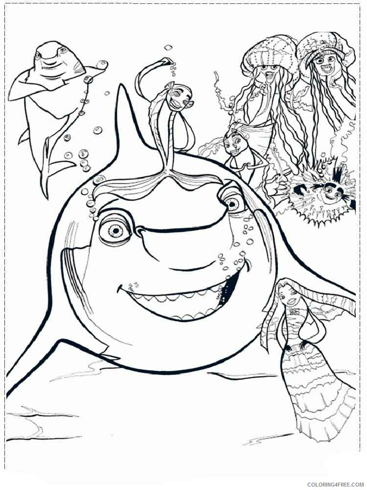 Shark Tale Coloring Pages TV Film shark tale 5 Printable 2020 07460 Coloring4free