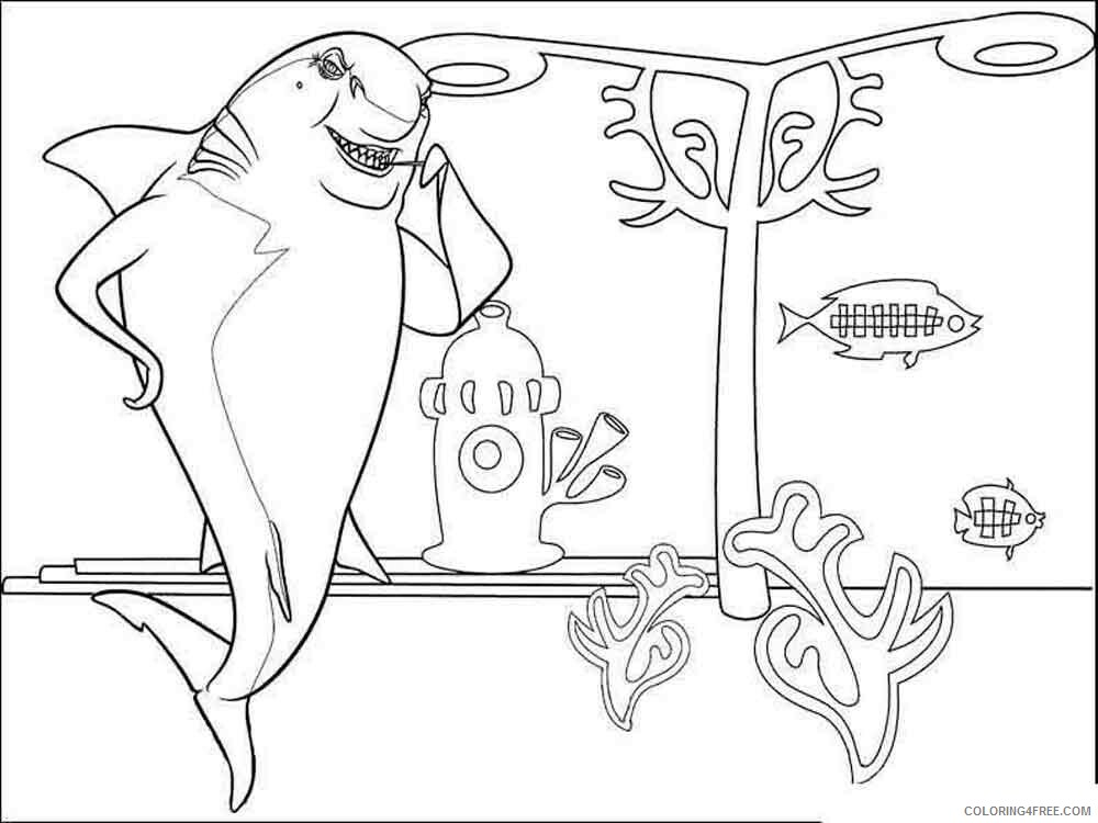 Shark Tale Coloring Pages TV Film shark tale 7 Printable 2020 07462 Coloring4free