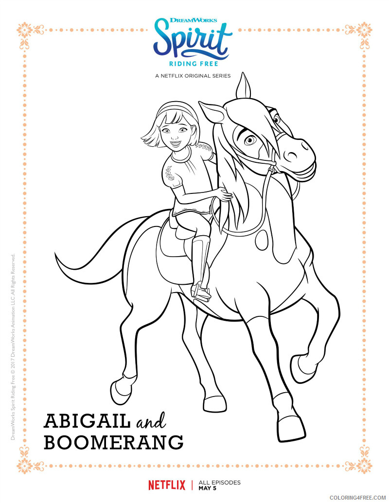 Spirit Riding Free Coloring Pages TV Film Abigail and Boomerang 020 07673 Coloring4free