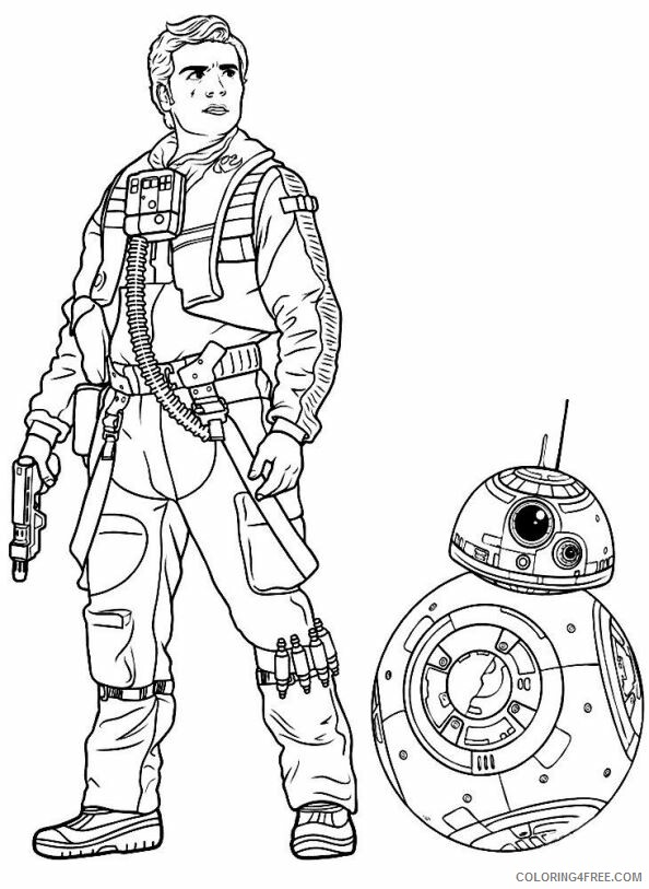 Star Wars Coloring Pages TV Film Poe and BB8 Star Wars Printable 2020 07817 Coloring4free