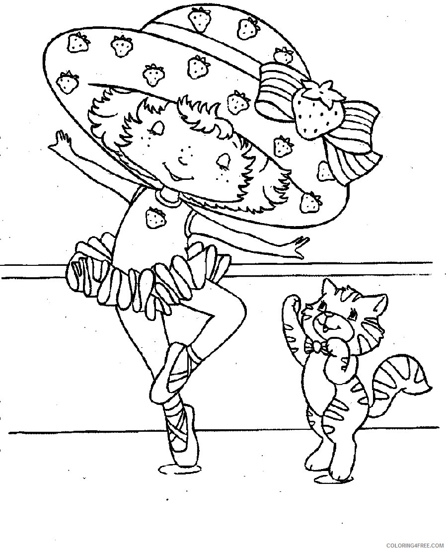 Strawberry Shortcake Coloring Pages TV Film Ballerina Printable 2020 08162 Coloring4free
