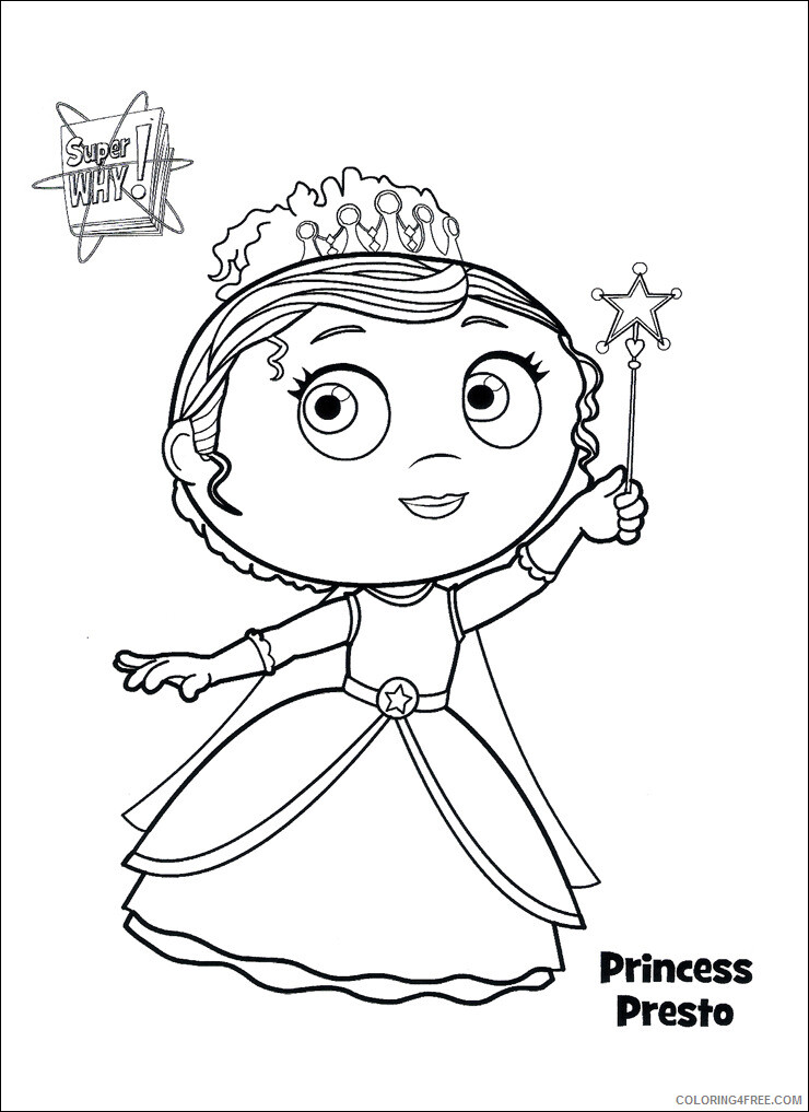 Super Why Coloring Pages TV Film Super Why Princess Presto Printable 2020 08331 Coloring4free
