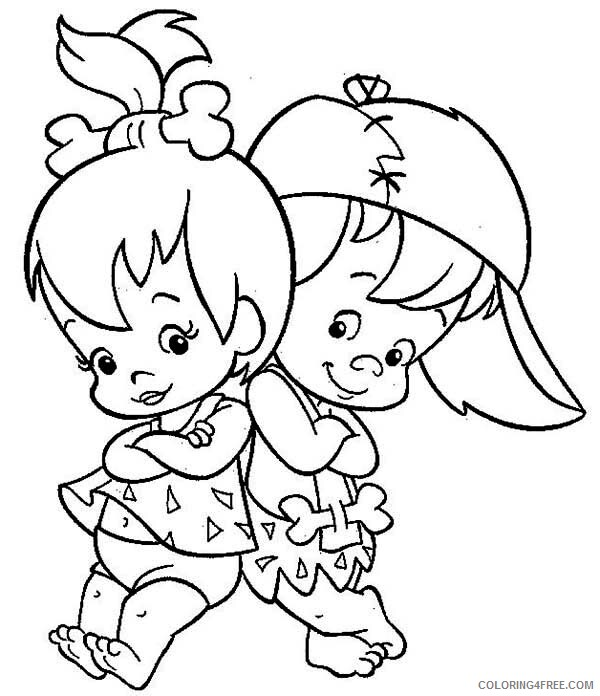 The Flintstones Coloring Pages TV Film Cute Pebbles and Bamm Bamm 2020 08720 Coloring4free