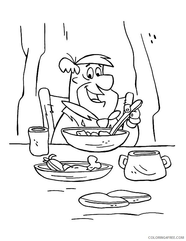 The Flintstones Coloring Pages TV Film Freds Having Breakfast 2020 08794 Coloring4free