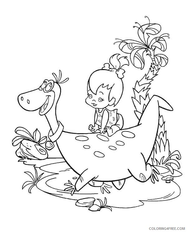 The Flintstones Coloring Pages TV Film Pebbles Sitting on Dinos Back 2020 08803 Coloring4free