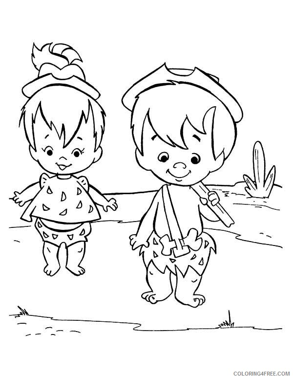 The Flintstones Coloring Pages TV Film Pebbles and Bamm Bamm 2020 08798 Coloring4free