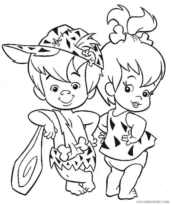 The Flintstones Coloring Pages TV Film Pebbles and Bamm Bamm Ruble 2020 08799 Coloring4free