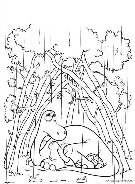 The Good Dinosaur Coloring Pages TV Film Arlo in the Rain Printable 2020 08807 Coloring4free