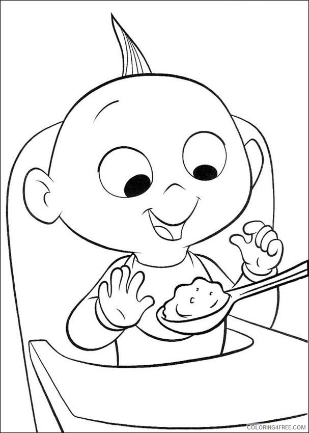 The Incredibles Coloring Pages TV Film Jack Jack eating Printable 2020 08898 Coloring4free