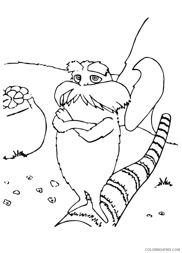 The Lorax Coloring Pages TV Film Standing on Cutted Down Tree Printable 2020 09347 Coloring4free
