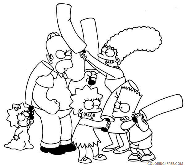 The Simpsons Coloring Pages Tv Film Family Fight Printable 2020 09544 Coloring4free Coloring4free Com
