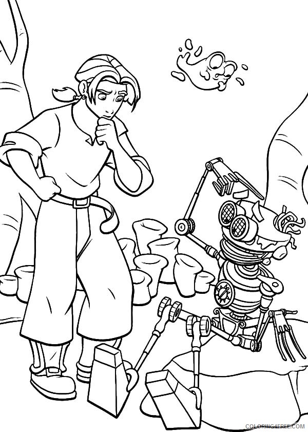 Treasure Planet Coloring Pages Tv Film Jim Try To Fix B Coloring4free Com