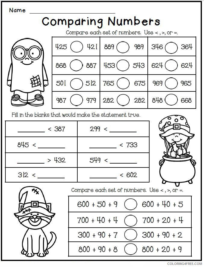 2nd Grade Coloring Pages Educational Math Worksheet Comparing Numbers 2020  0142 Coloring4free - Coloring4Free.com