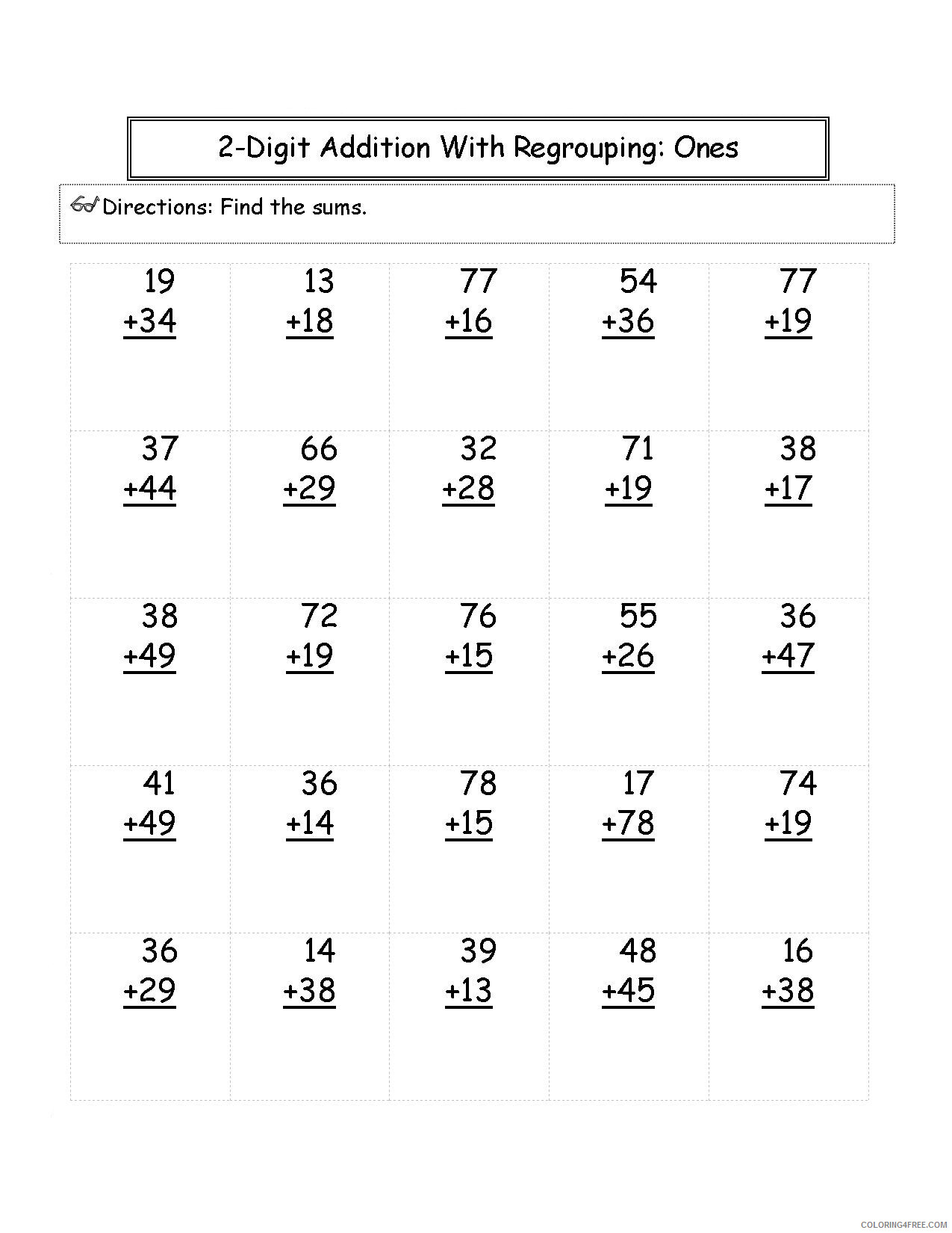 2nd Grade Coloring Pages Educational Math Worksheets 2 Digit Addition 2020 0146 Coloring4free Coloring4free Com [ 1650 x 1275 Pixel ]