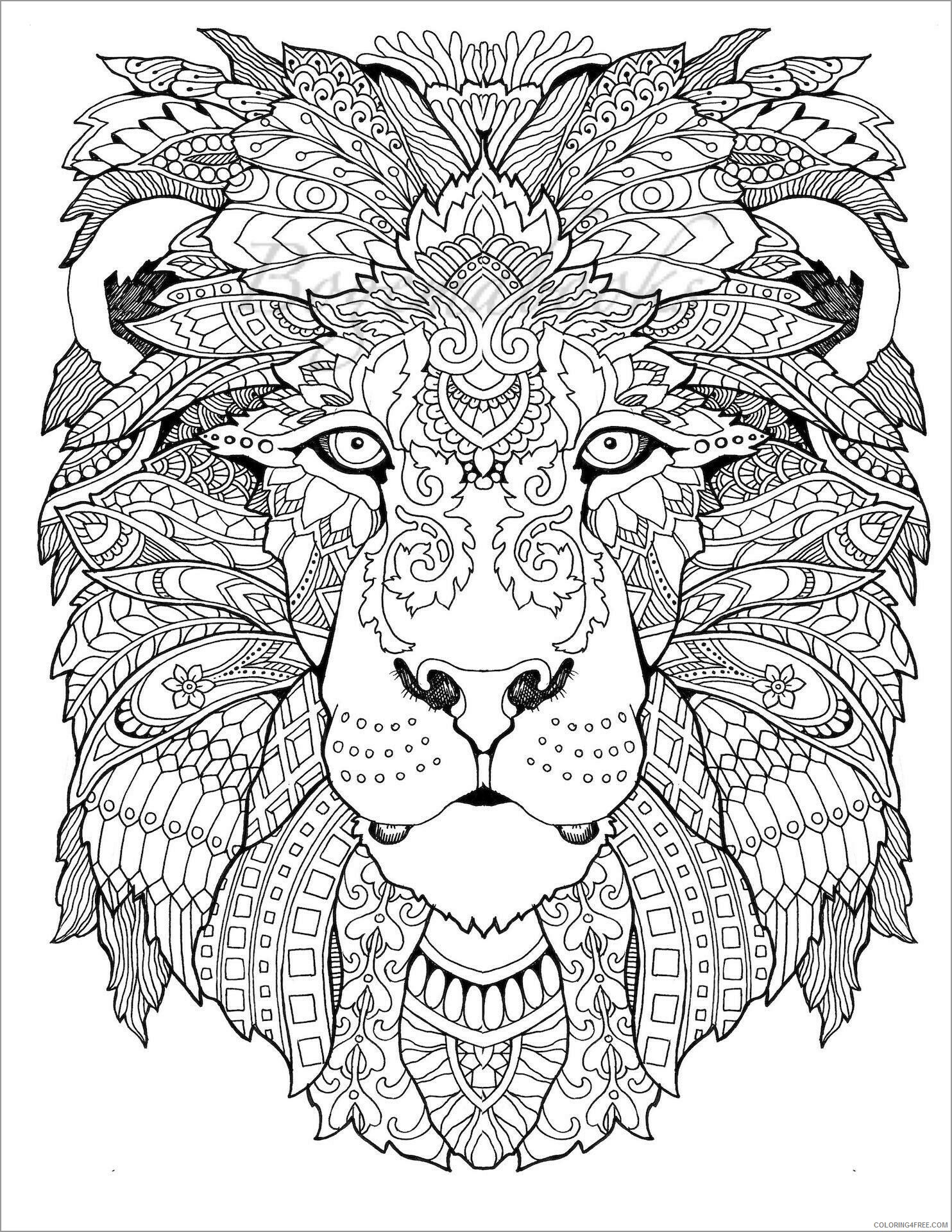 Abstract Coloring Pages Adult Abstract Animals Lion Head Printable 2020 020 Coloring4free Coloring4free Com