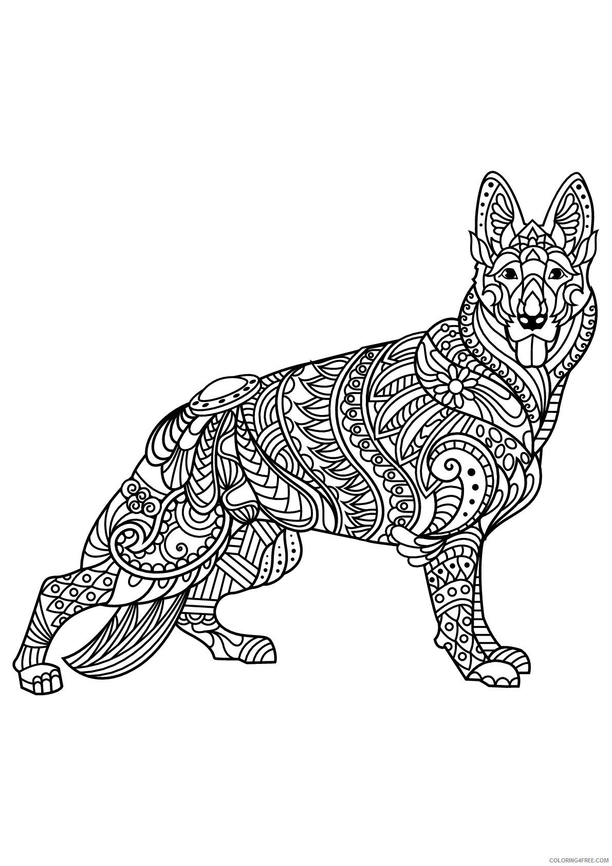 Adult Animals Coloring Pages German Shepherd for Adults Printable 2020 156 Coloring4free