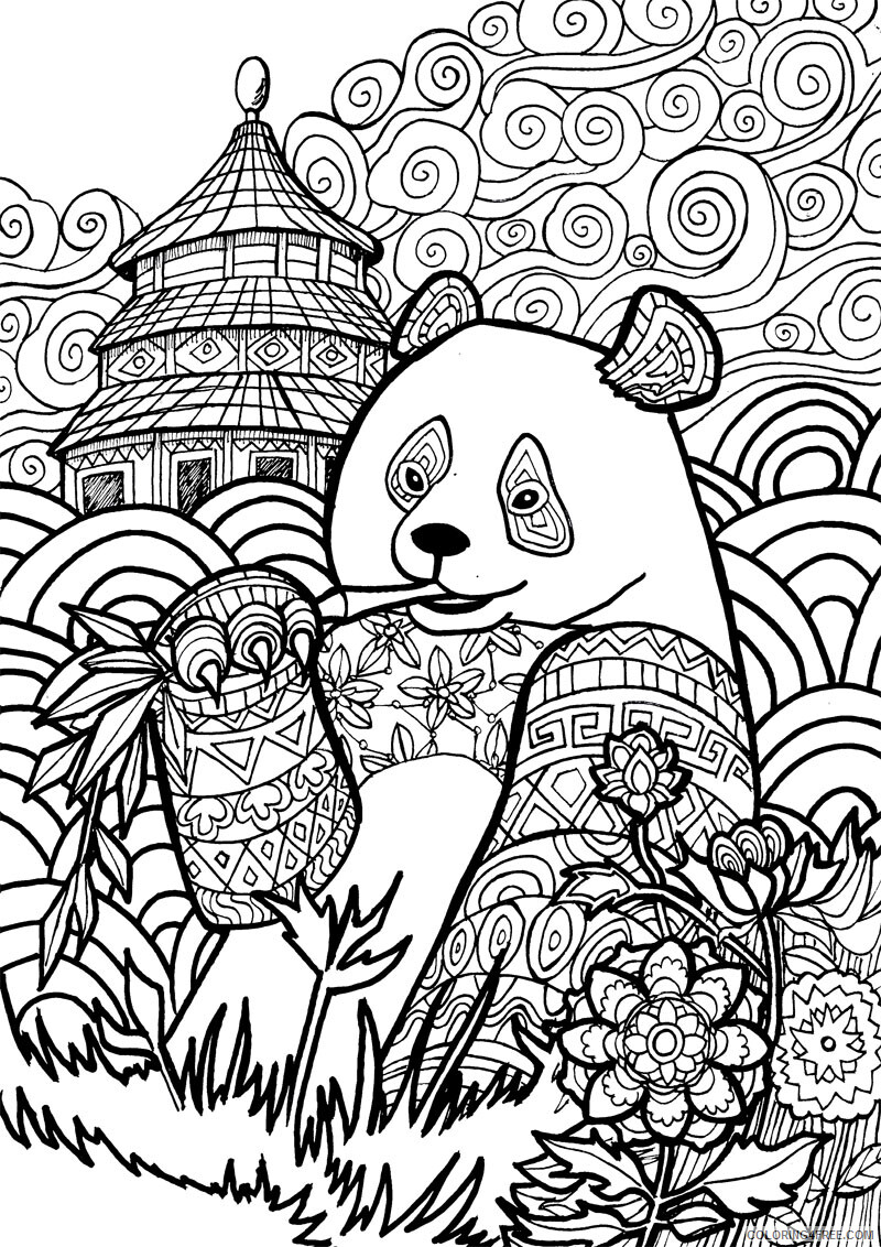 Adult Animals Coloring Pages Panda for adults Printable 2020 161 Coloring4free
