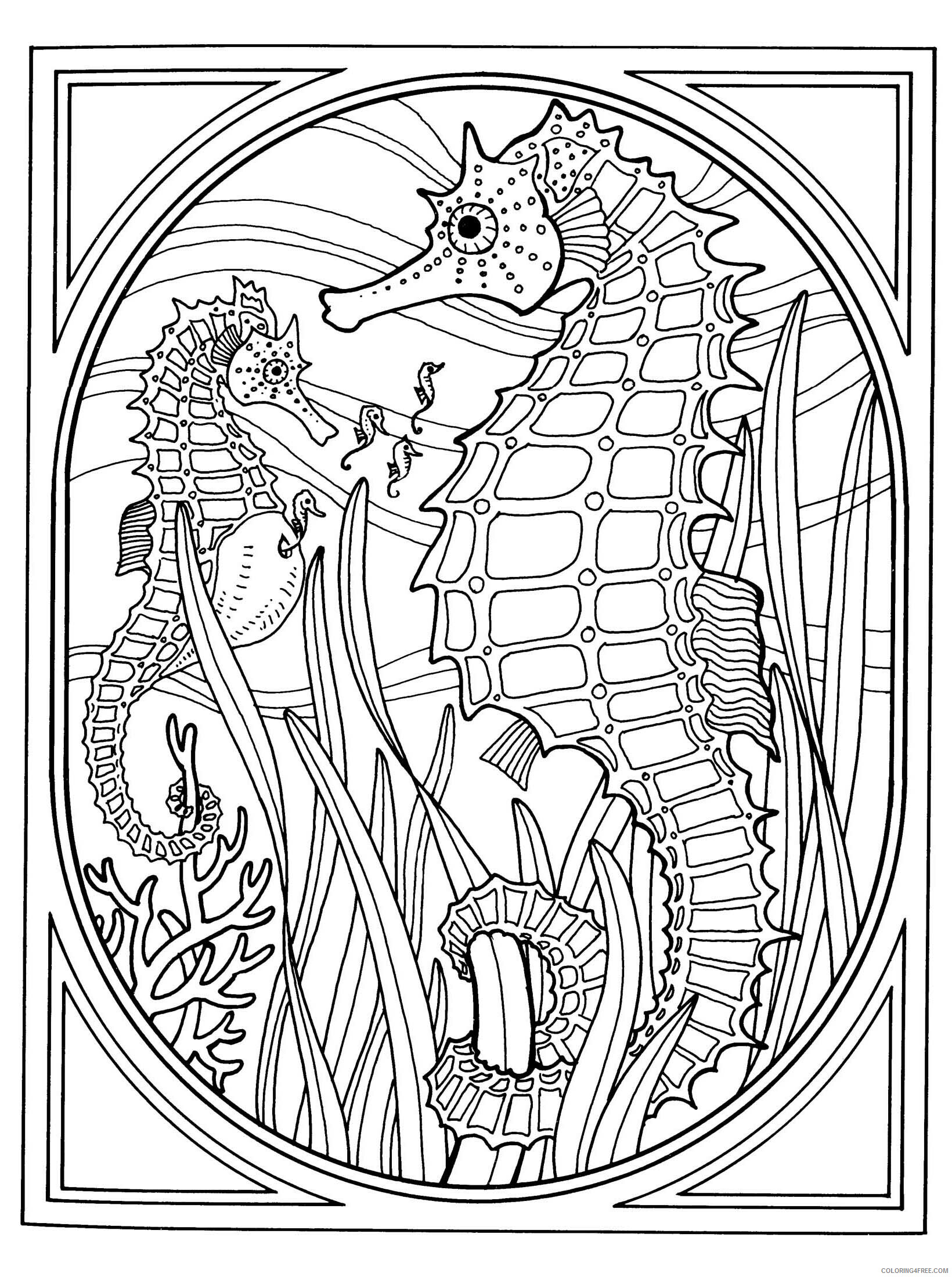 Adult Animals Coloring Pages Seahorse for Adults Printable 2020 170 Coloring4free