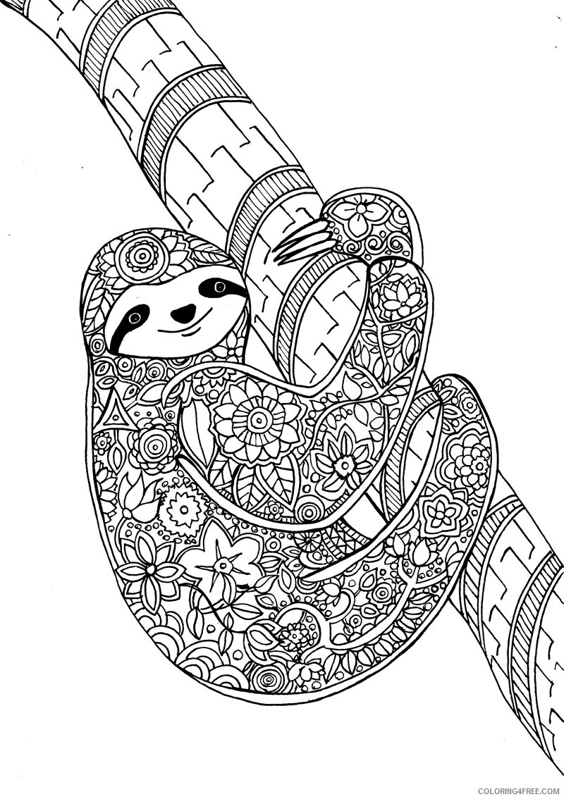 Adult Animals Coloring Pages Sloth Animal for Adults Printable 2020 172 Coloring4free