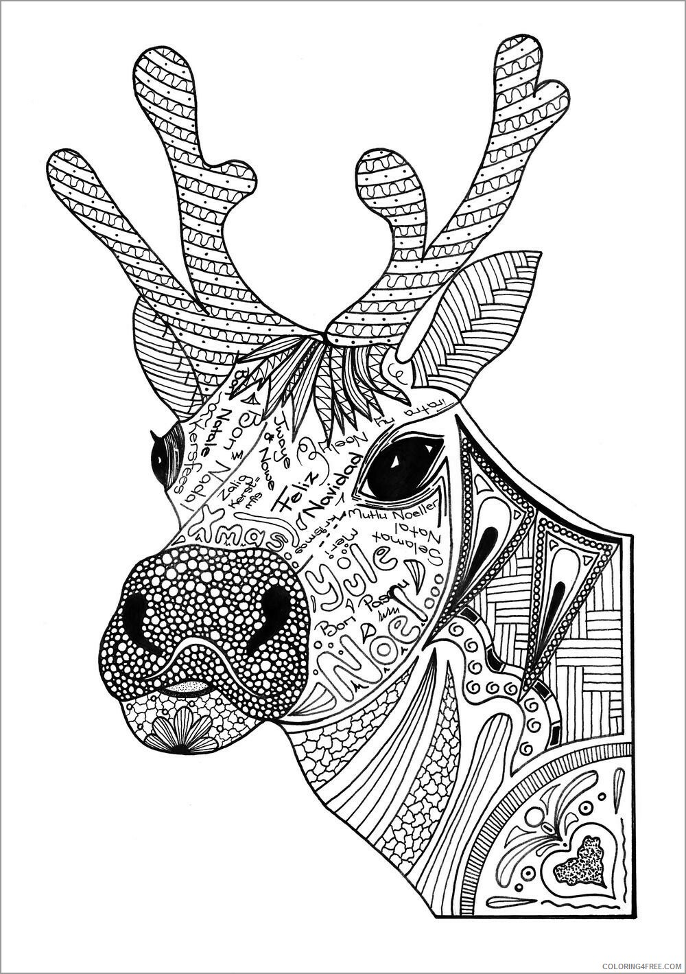 Adult Animals Coloring Pages christmas reindeer head for adult Printable 2020 137 Coloring4free