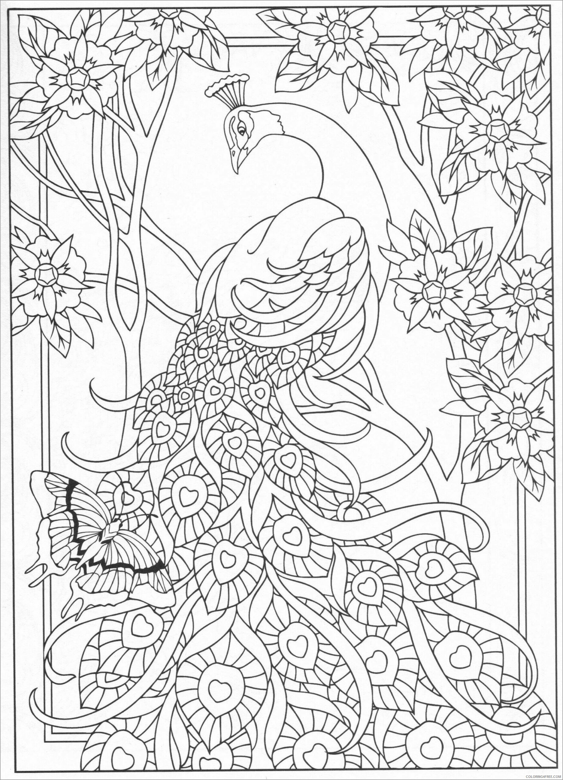 Adult Animals Coloring Pages peacock for adults Printable 2020 163 Coloring4free