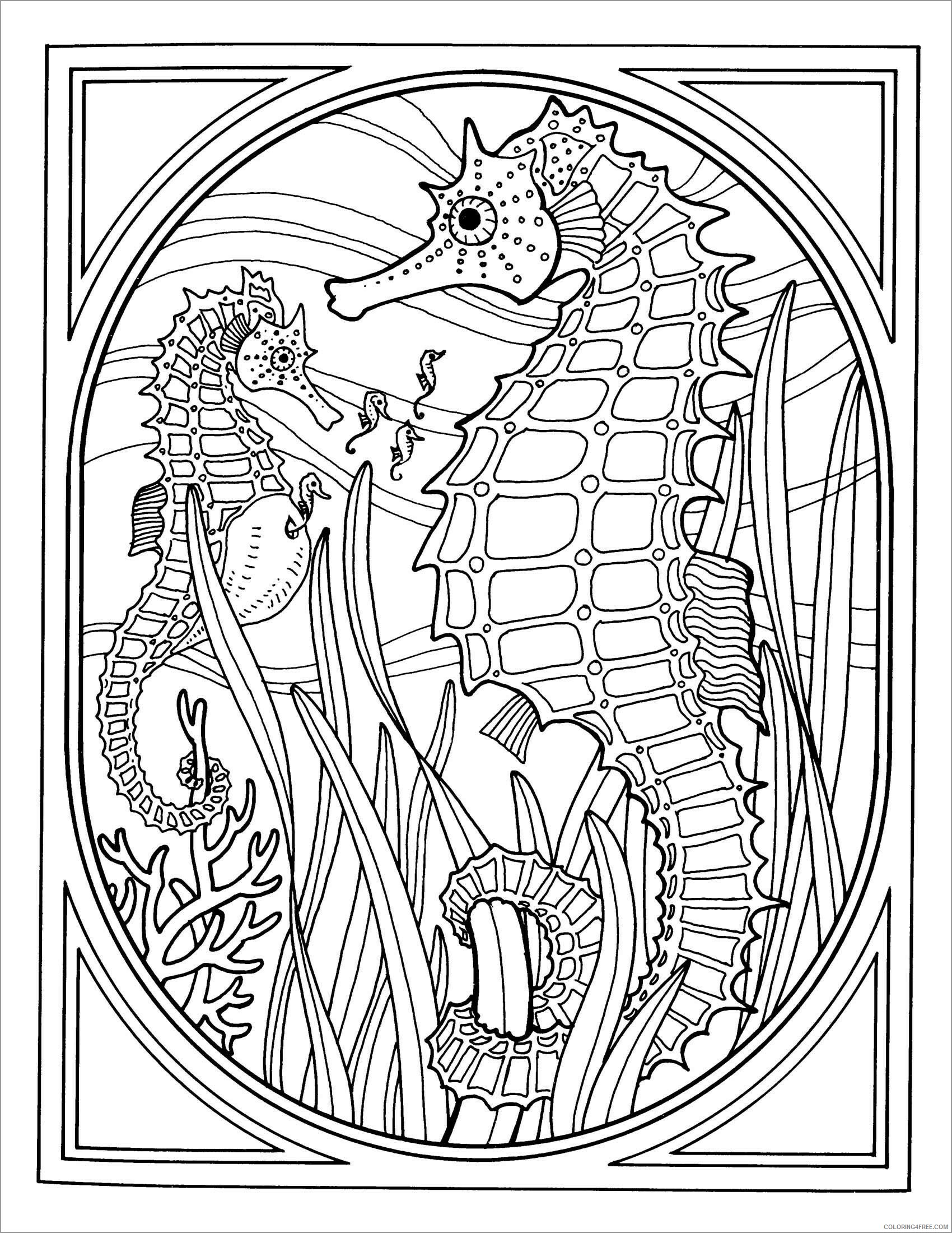 Adult Animals Coloring Pages printable seahorse for adult Printable 2020 167 Coloring4free