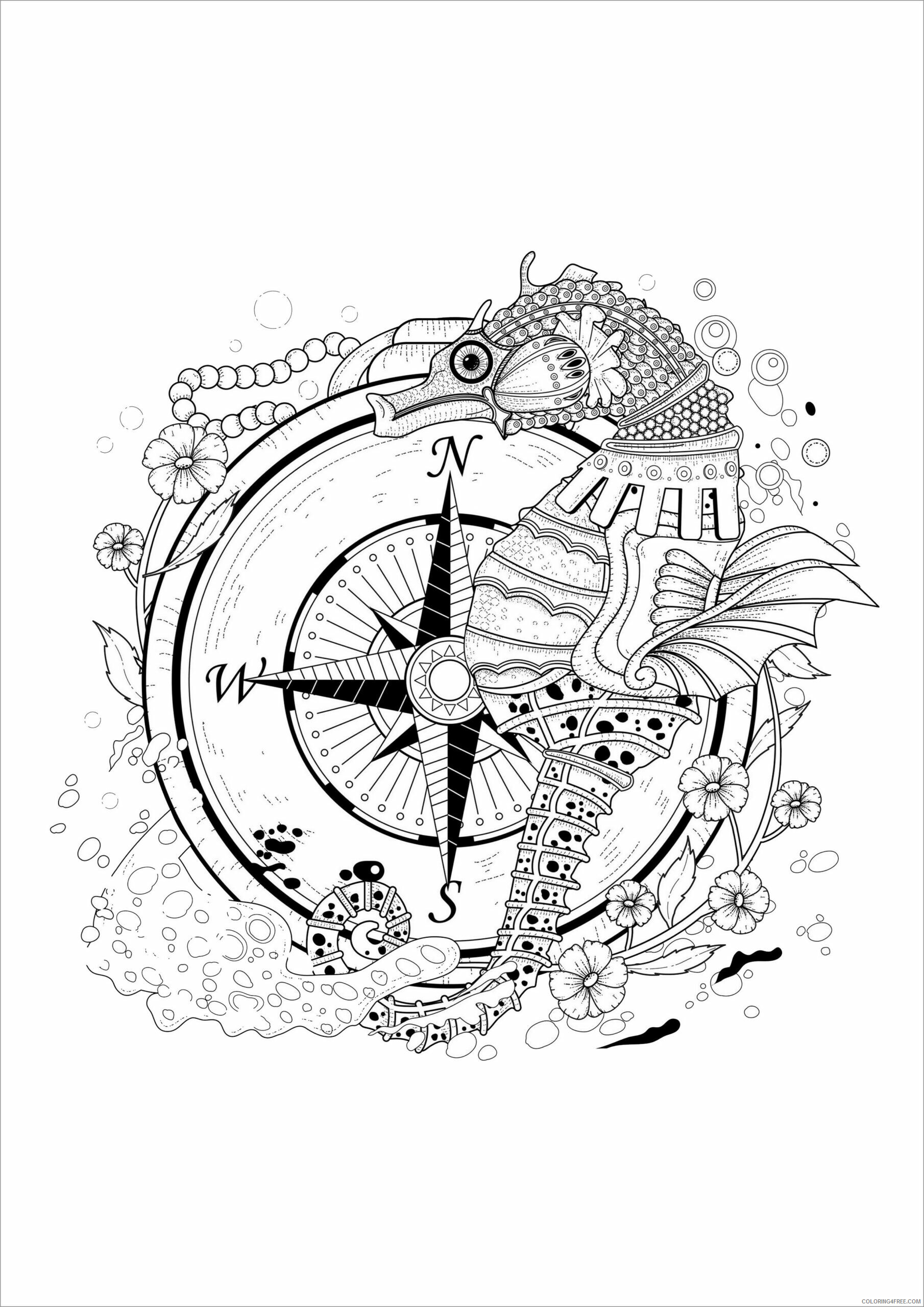 Adult Animals Coloring Pages seahorse adult antistress Printable 2020 169 Coloring4free