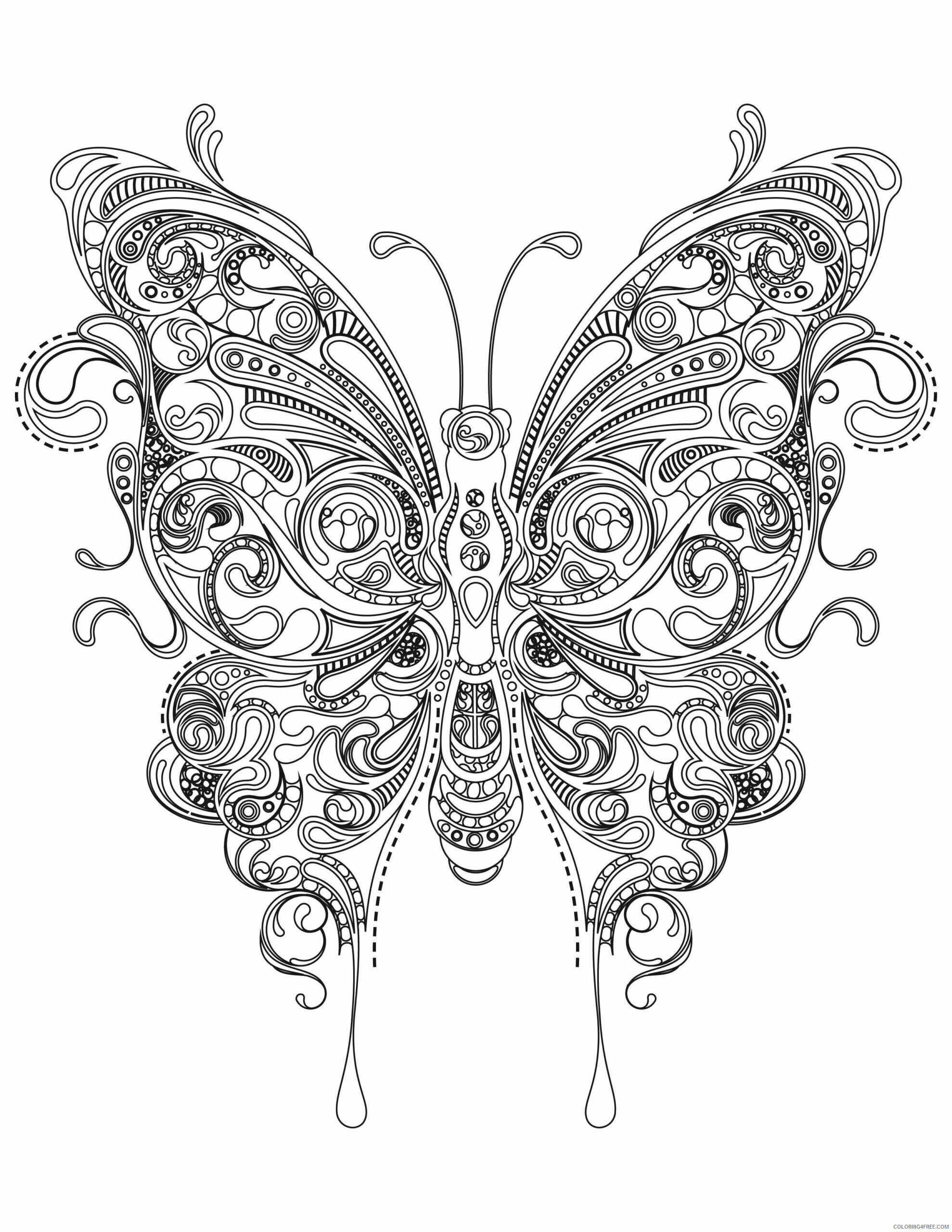 Adult Butterfly Coloring Pages Butterfly Design for Adult Printable 2020 190 Coloring4free