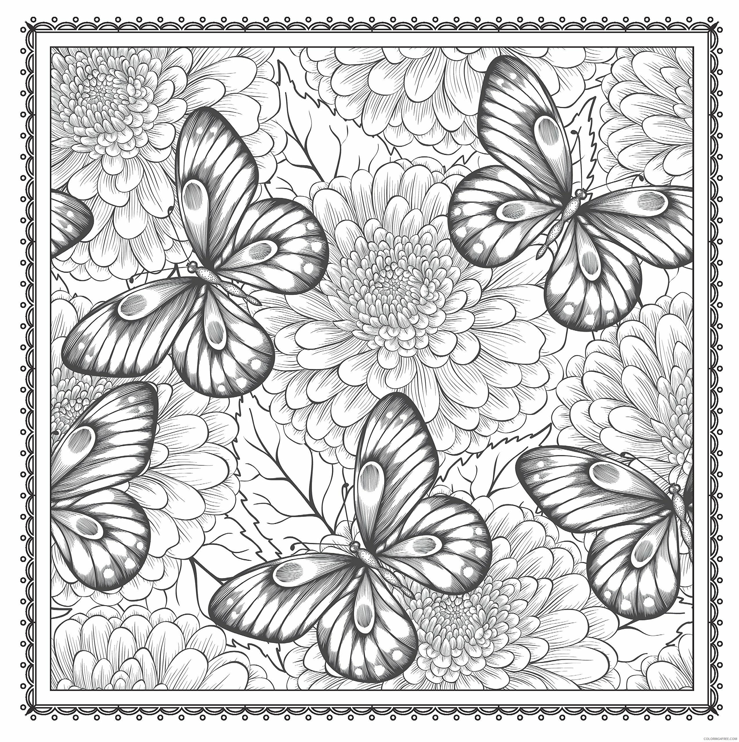 Adult Butterfly Coloring Pages Butterfly Floral For Adults Printable 2020 191 Coloring4free