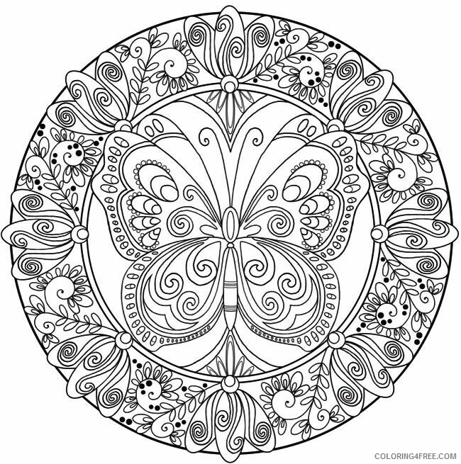 Adult Butterfly Coloring Pages Butterfly Mandala for Adults Printable 2020 192 Coloring4free