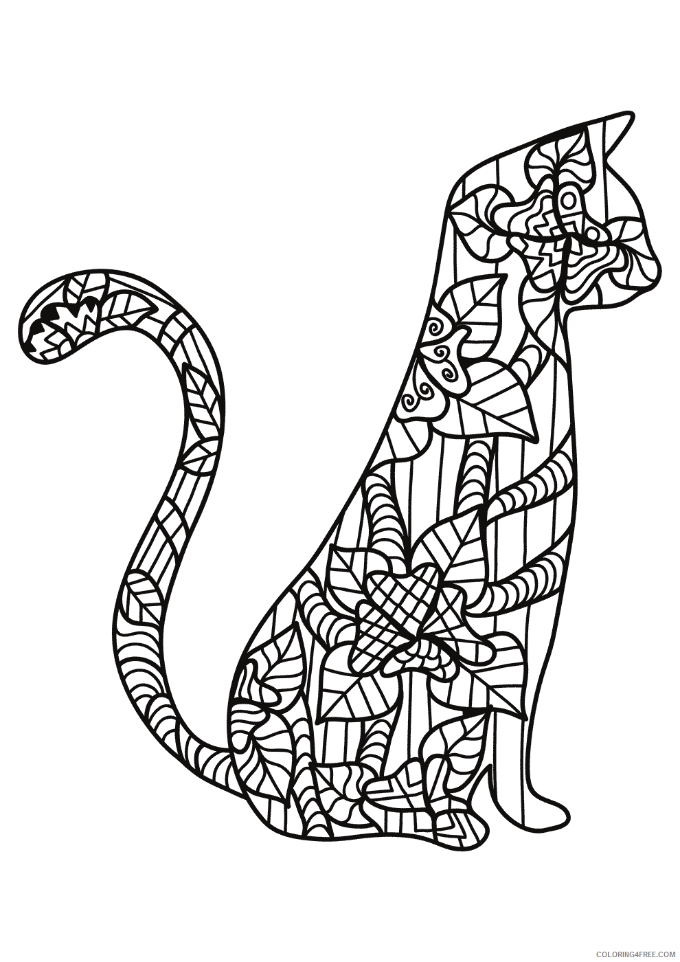 Adult Cat Coloring Pages Cat for Adults Printable 2020 201 Coloring4free