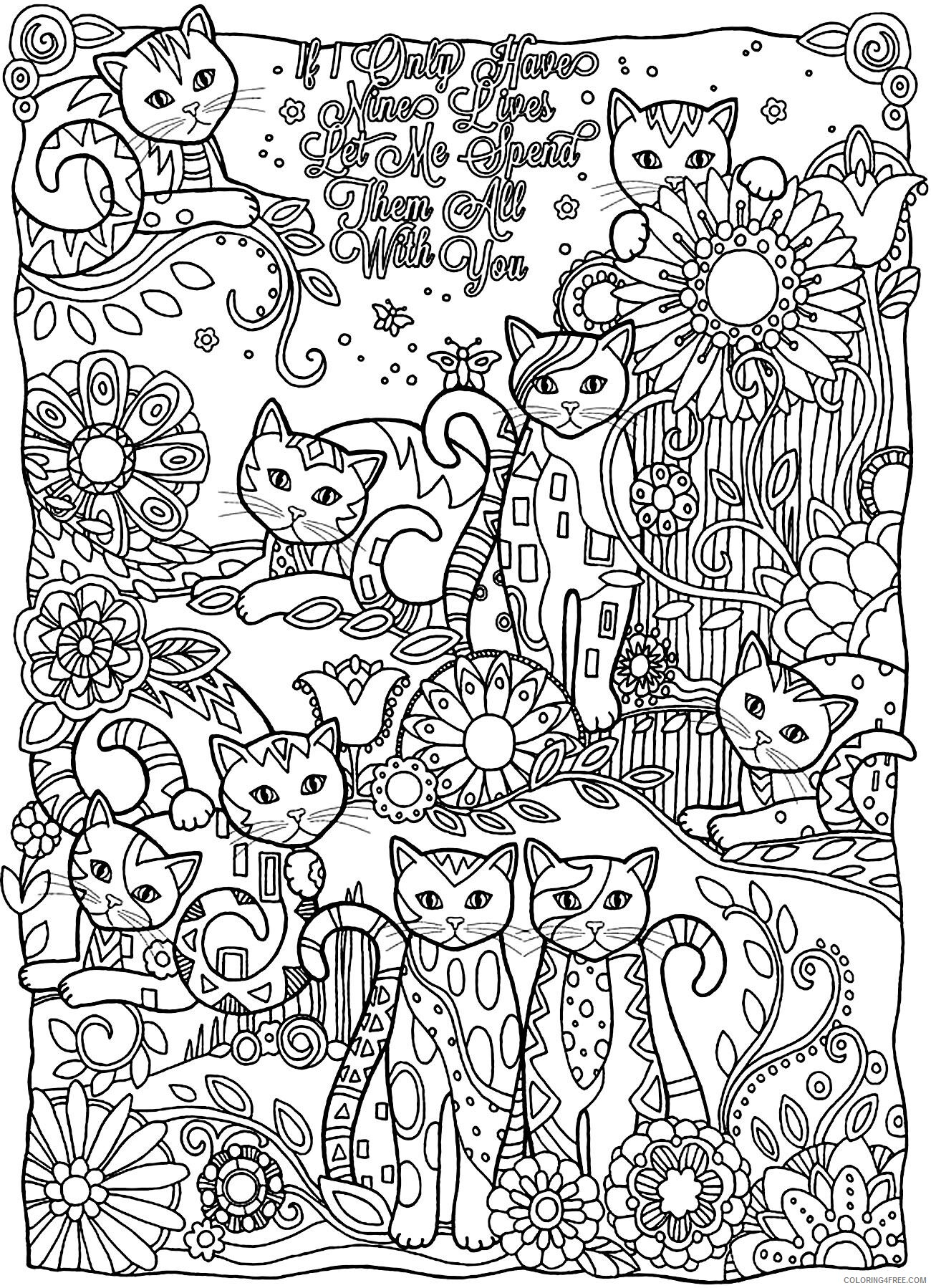 Adult Cat Coloring Pages Cute Cat for Adults Printable 2020 207 Coloring4free
