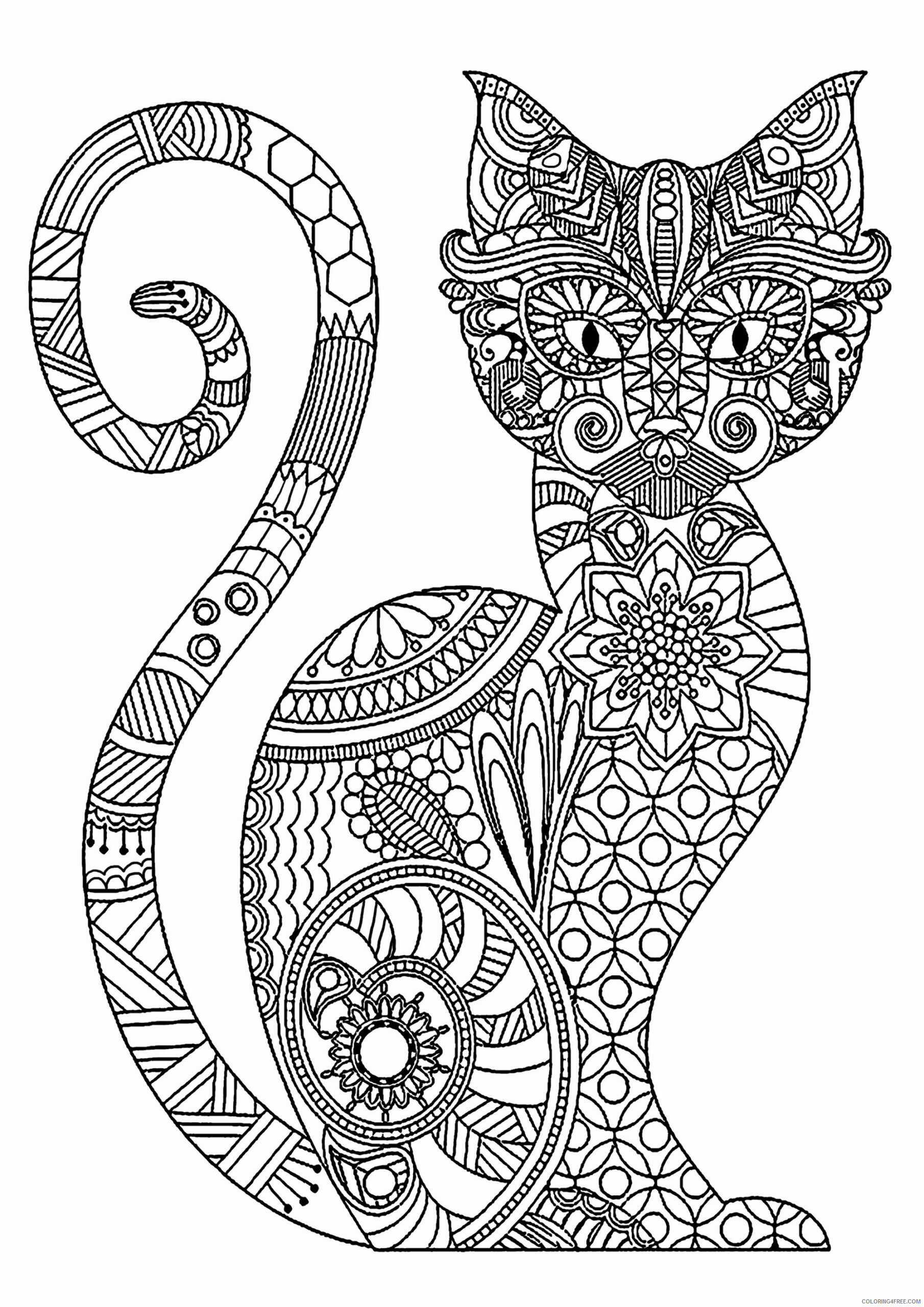 Adult Cat Coloring Pages Print Cat for Adults Printable 2020 215 Coloring4free