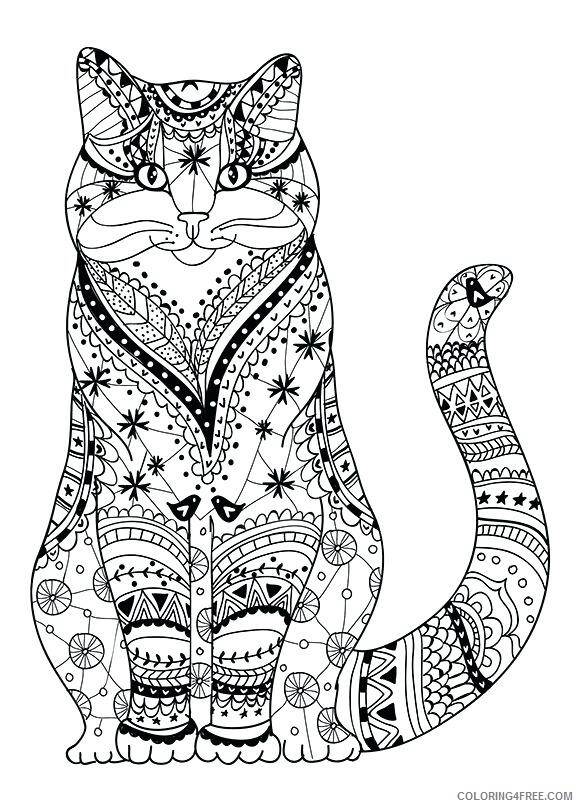 Adult Cat Coloring Pages Print Free Cat For Adults Printable 2020 216  Coloring4free - Coloring4Free.com