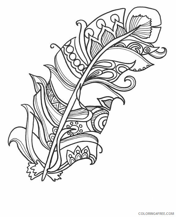 Adult Coloring Pages Easy Feather For Adults Printable 2020 021  Coloring4free - Coloring4Free.com