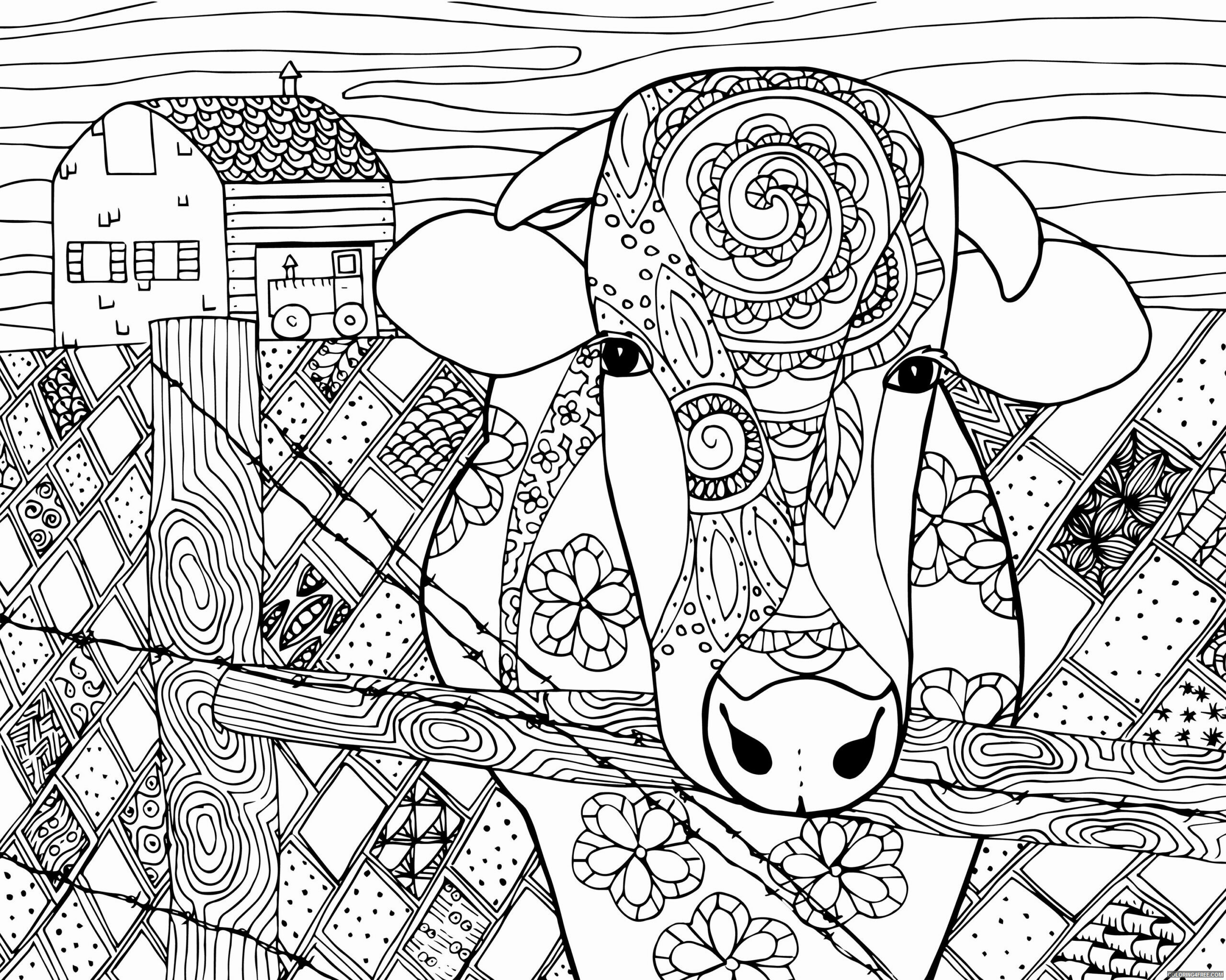 Adult Coloring Pages Farm Cow Easy for Adults Printable 2020 026 Coloring4free