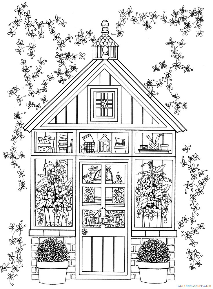 Adult Coloring Pages Greenhouse Cute for Adults Printable 2020 033 Coloring4free