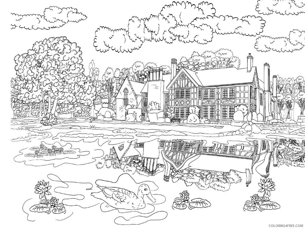 Adult Coloring Pages House and Pond Scene for Adults Printable 2020 038 Coloring4free