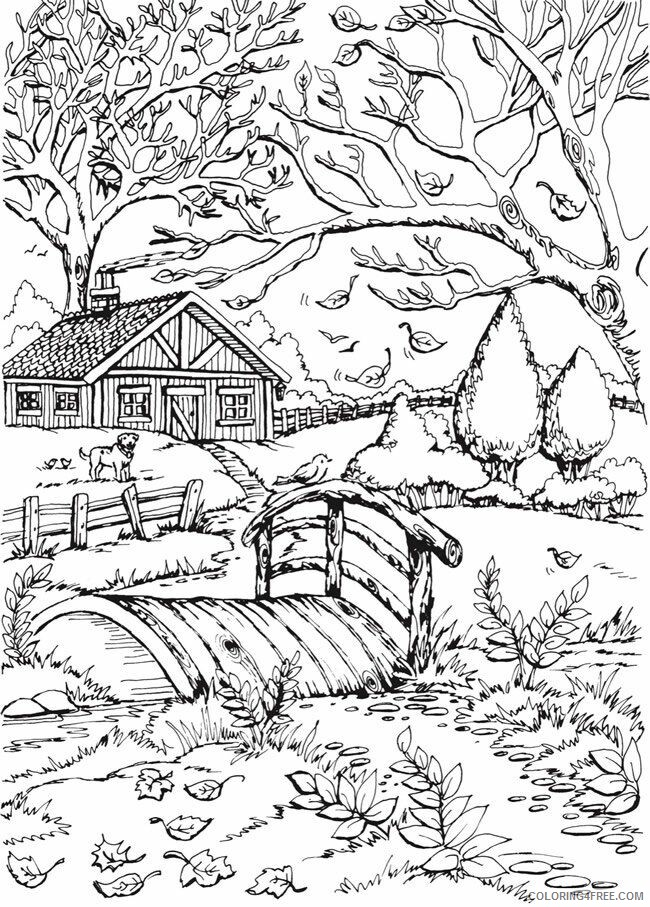 Adult Coloring Pages Rural Scenery for Adults Printable 2020 066 Coloring4free