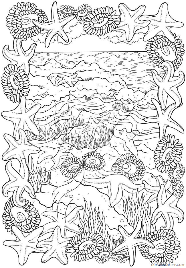 Adult Coloring Pages Seashell Scenery for Adults Printable 2020 070 Coloring4free