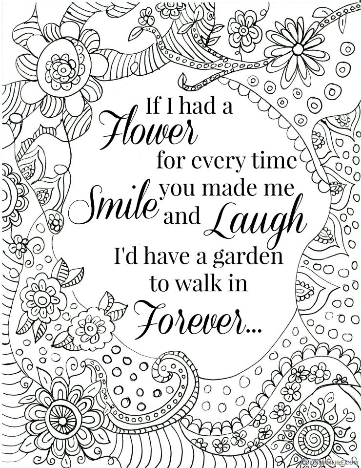 Adult Coloring Pages Smile and Laugh Quote for Adults Printable 2020 072 Coloring4free