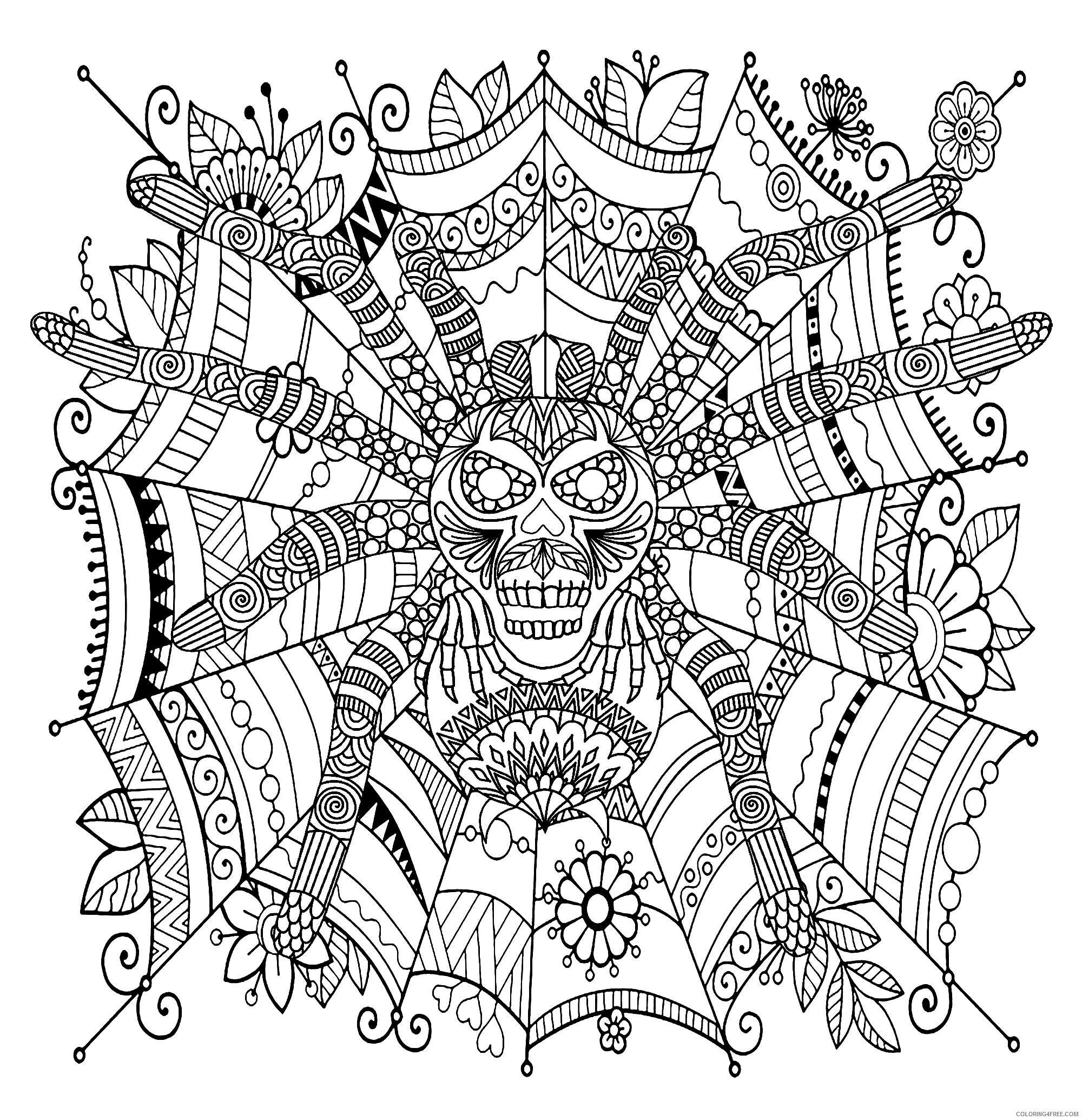 Adult Coloring Pages Spider for Adults Printable 2020 074 Coloring4free
