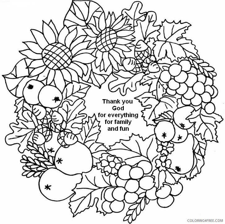 Adult Coloring Pages Thank You Wreath or Adults Printable 2020 076 Coloring4free