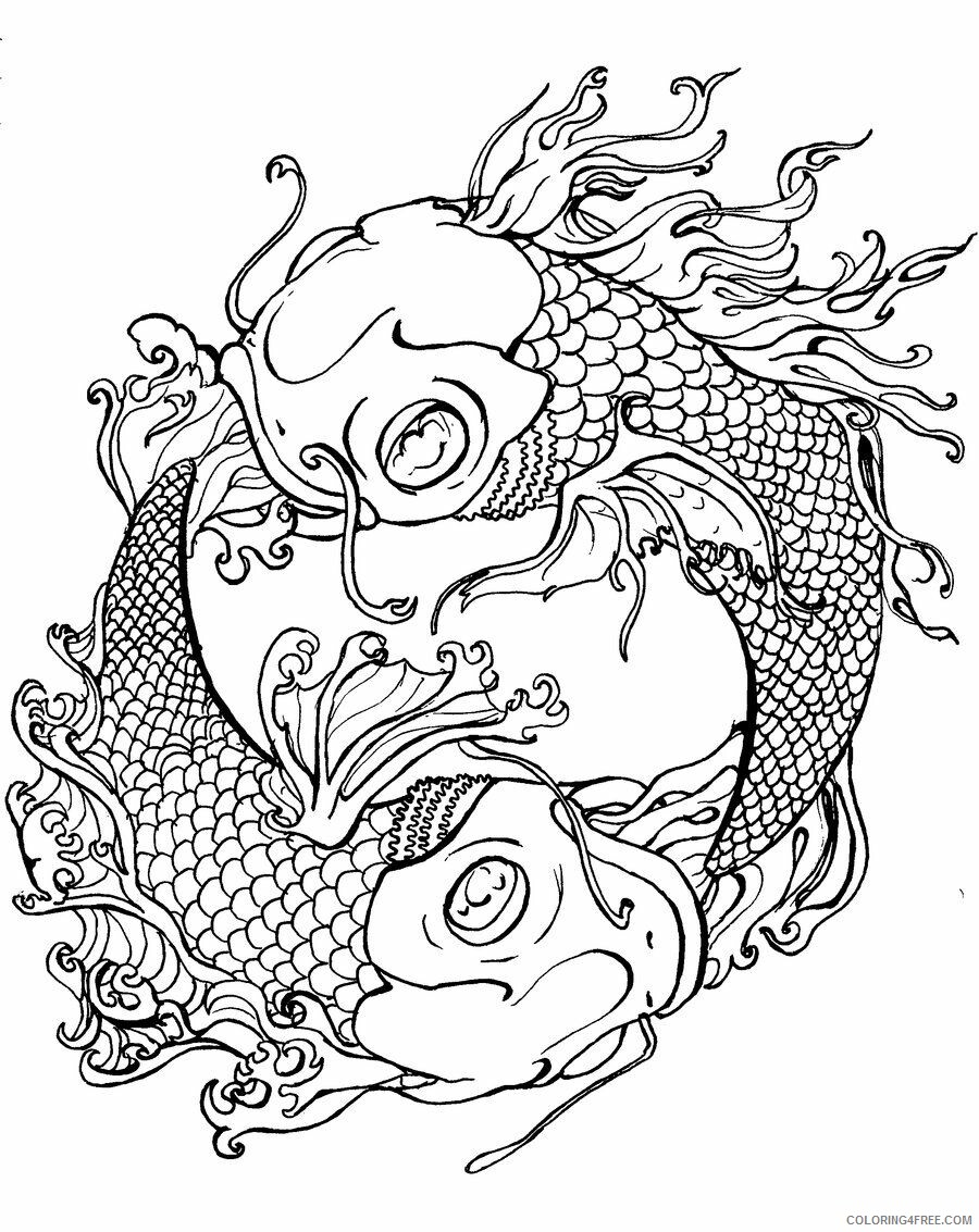 Adult Coloring Pages Yin Yang Fish Tattoo Adult Printable 2020 083 Coloring4free