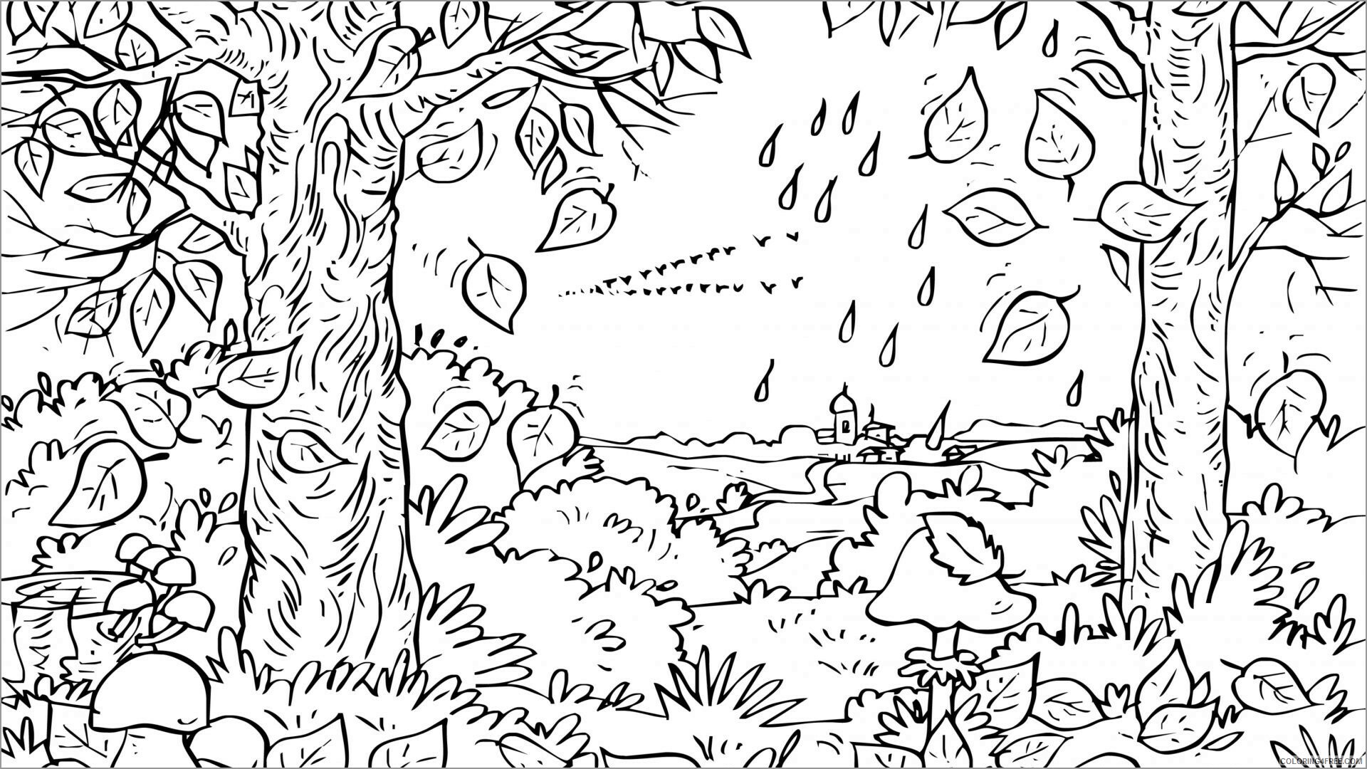 Adult Coloring Pages autumn for adults Printable 2020 007 Coloring4free