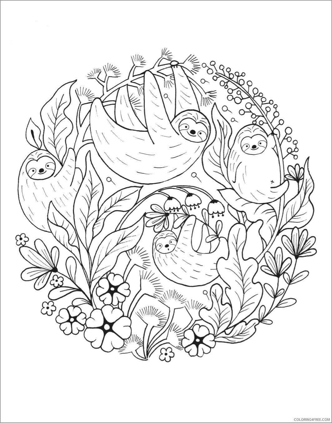Adult Coloring Pages printable sloths for adult Printable 2020 056 Coloring4free