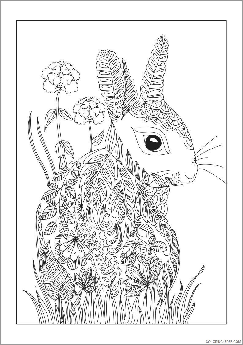 Adult Coloring Pages rabbit for adult Printable 2020 060 Coloring4free